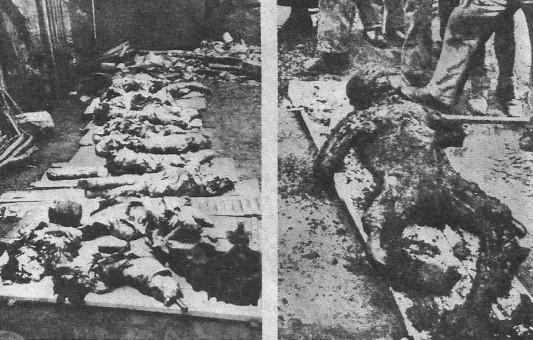 Nach dem Abzug der SS-Division wurden in den Trümmern von Oradour 642 zum Teil bis zur Unkenntlichkeit verstümmelte und verbratte Leichen geborgen