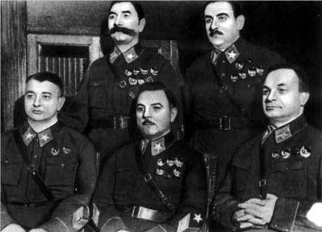 Die ersten Marschälle der Sowjetunion: M.N.Tuchatschewski, K.E.Woroschilow, S.M.Budjonny, W.K.Blücher (1935)
