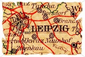 Leipzig, Germany on an old torn map from 1949, isolated. Part of the old map series.