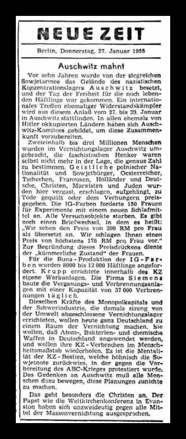 550127 Neue Zeit - Auschwitz