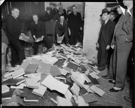 burning books Manhattan 1935