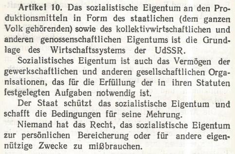 UdSSR Verfassung Staatseigentum