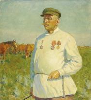 BORIS PEROBRAZHENSKY (Russian, 1910-1995) Portrait of Meshcheryakov, Laureate of Stalin's Prize, a Merited Horsebreeder at Budenny Stables, 1950