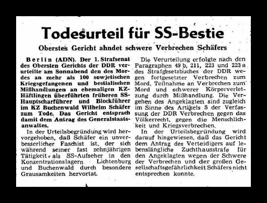 610521 Neue Zeit Todesurteil Schäfer
