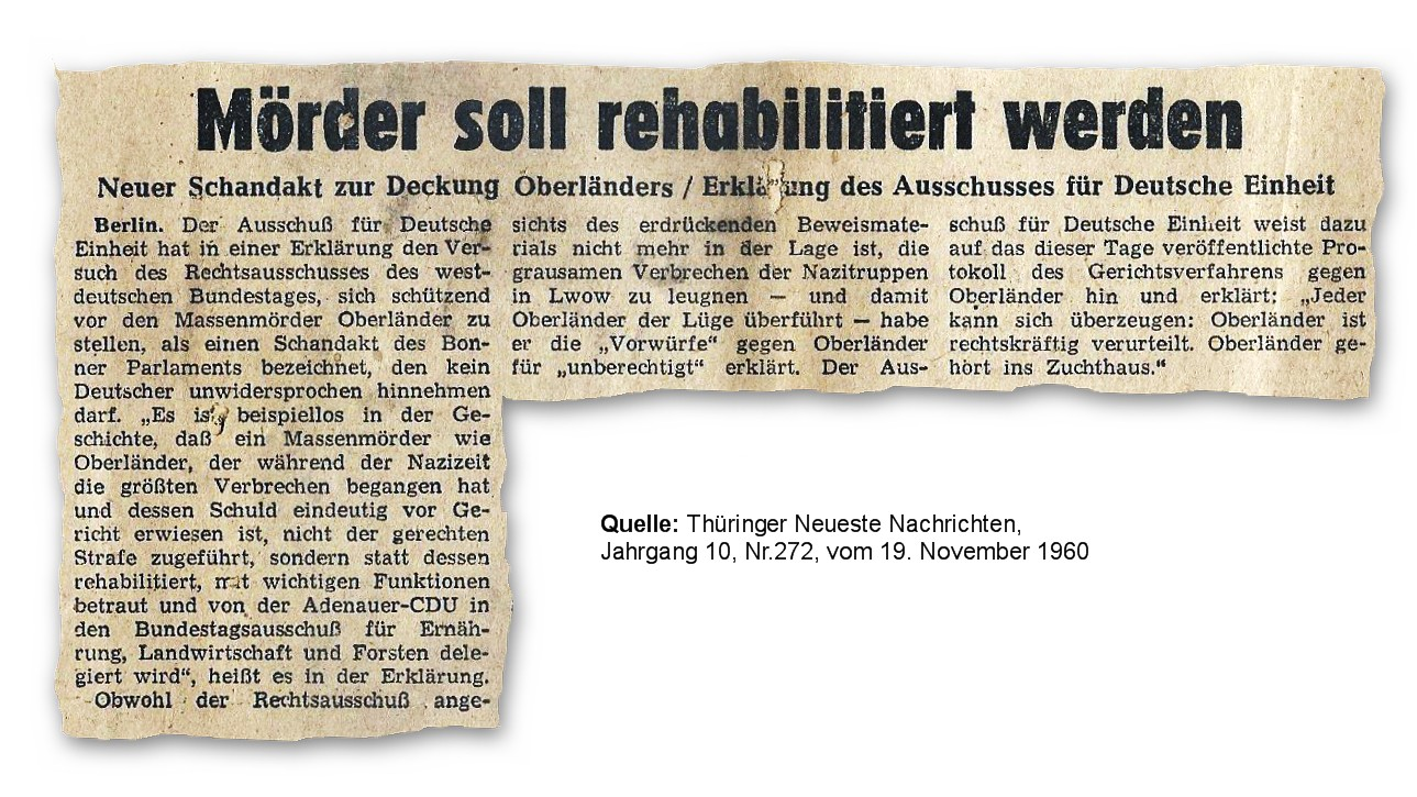 601119 Mörder Oberländer rehabilitiert